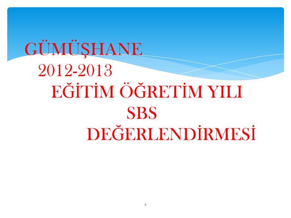 GÜMÜ Ş HANE 2012-2013 E Ğİ T İ M Ö Ğ RET İ M YILI SBS DE Ğ ERLEND İ RMES İ 2