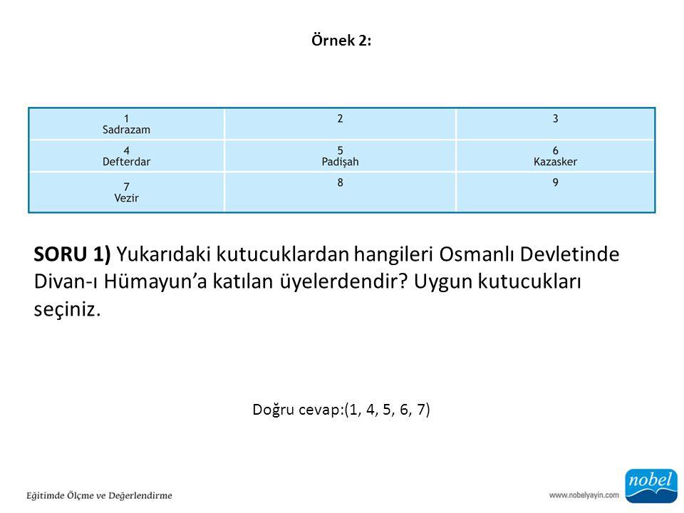 Örnek 2: SORU 1) Yukarıdaki kutucuklardan hangileri Osmanlı Devletinde Divan-ı Hümayun'a katılan üyelerdendir? Uygun kutucukları seçiniz. Doğru cevap: