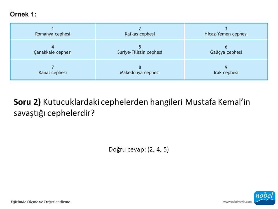 Soru 2) Kutucuklardaki cephelerden hangileri Mustafa Kemal'in savaştığı cephelerdir? Doğru cevap: (2, 4, 5)