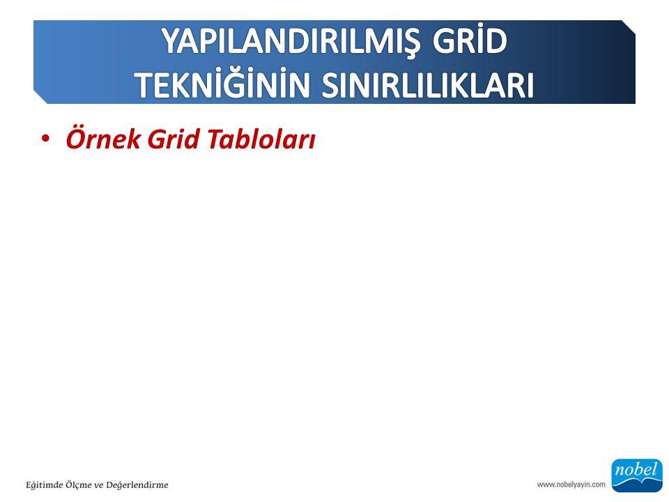 Örnek Grid Tabloları