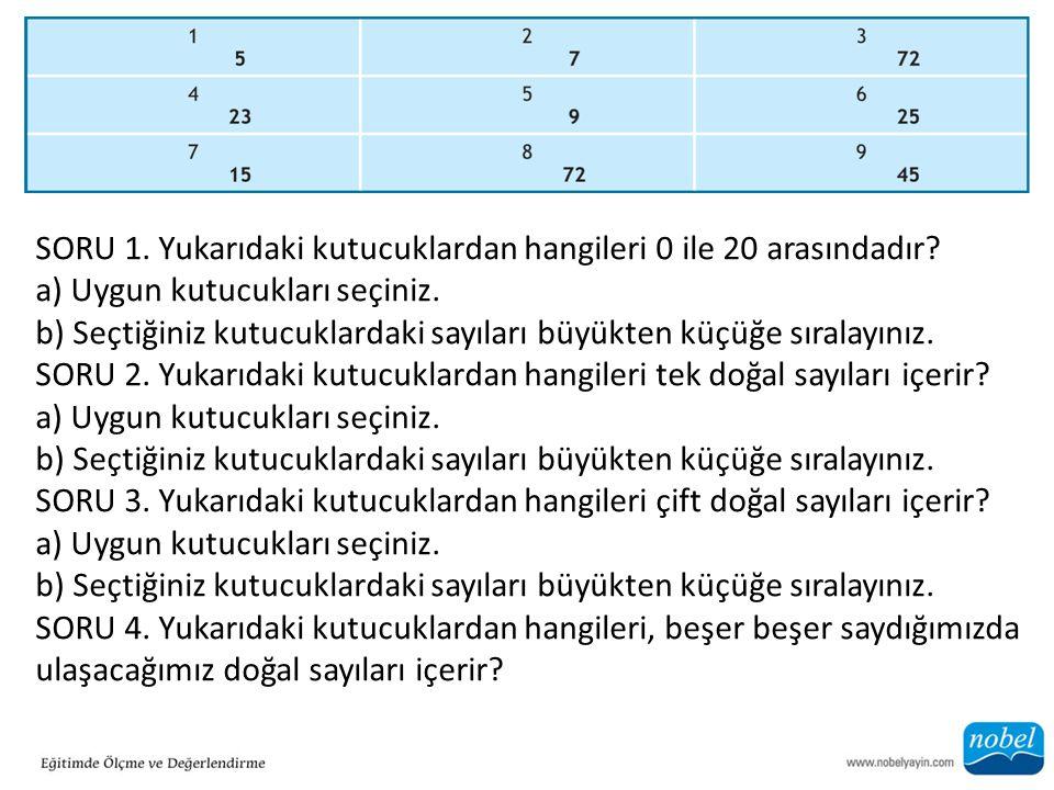 SORU 1. Yukarıdaki kutucuklardan hangileri 0 ile 20 arasındadır? a) Uygun kutucukları seçiniz. b) Seçtiğiniz kutucuklardaki sayıları büyükten küçüğe s