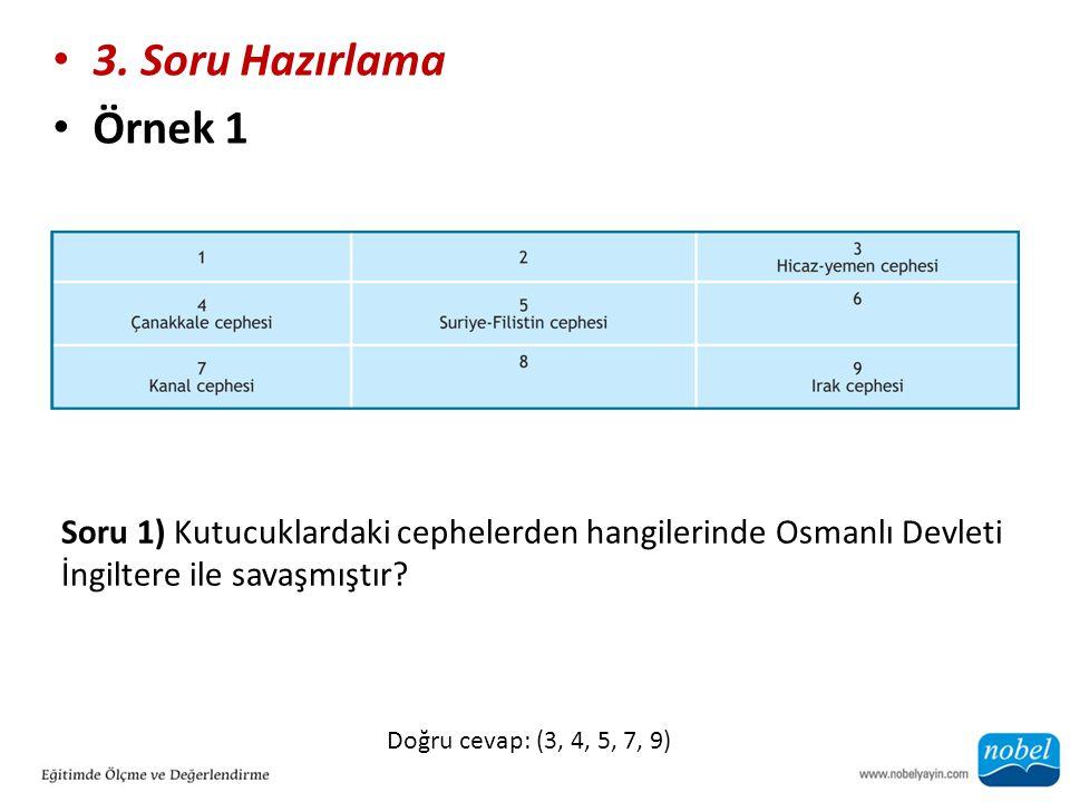 3. Soru Hazırlama Örnek 1 Soru 1) Kutucuklardaki cephelerden hangilerinde Osmanlı Devleti İngiltere ile savaşmıştır? Doğru cevap: (3, 4, 5, 7, 9)