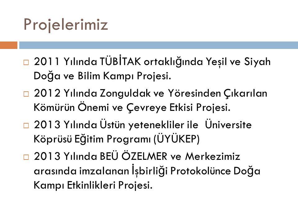 Projelerimiz  2011 Yılında TÜB İ TAK ortaklı ğ ında Yeşil ve Siyah Do ğ a ve Bilim Kampı Projesi.  2012 Yılında Zonguldak ve Yöresinden Çıkarılan Kö