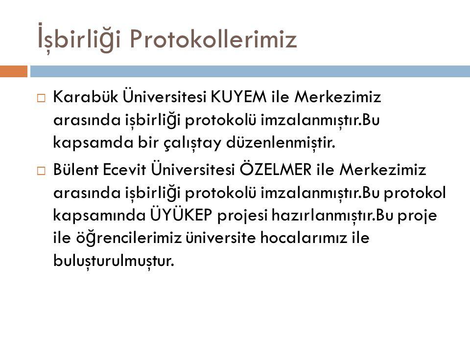 İ şbirli ğ i Protokollerimiz  Karabük Üniversitesi KUYEM ile Merkezimiz arasında işbirli ğ i protokolü imzalanmıştır.Bu kapsamda bir çalıştay düzenle