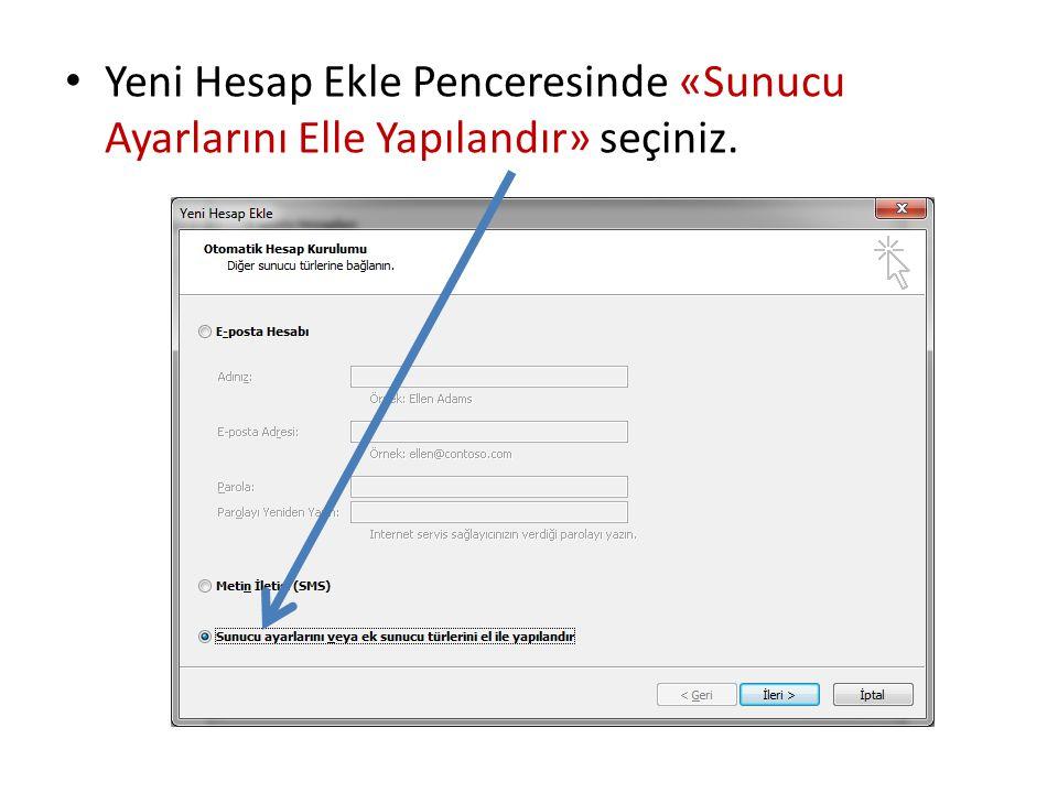 Hizmet Seçim penceresinde «Internet E-posta» seçip ileriye tıklayınız…