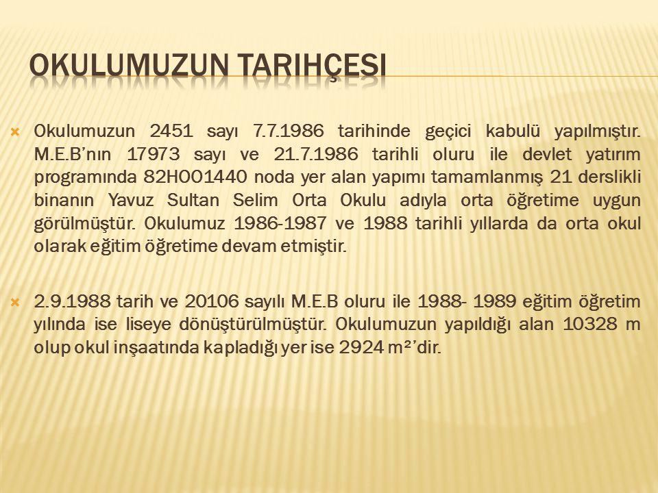  Okulumuzun 2451 sayı 7.7.1986 tarihinde geçici kabulü yapılmıştır.