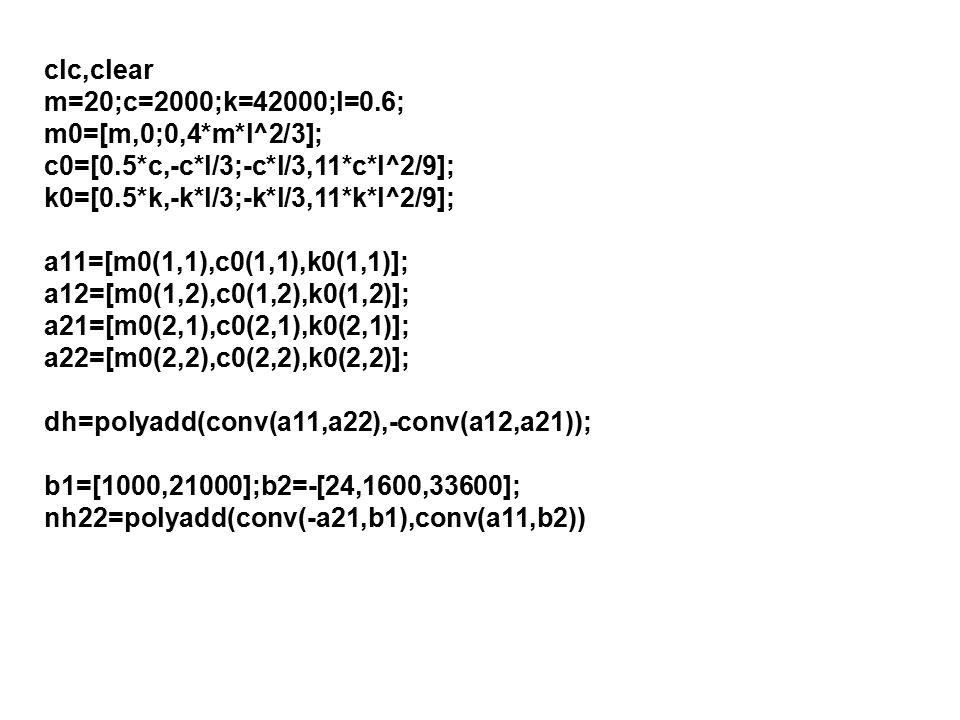 clc,clear m=20;c=2000;k=42000;l=0.6; m0=[m,0;0,4*m*l^2/3]; c0=[0.5*c,-c*l/3;-c*l/3,11*c*l^2/9]; k0=[0.5*k,-k*l/3;-k*l/3,11*k*l^2/9]; a11=[m0(1,1),c0(1