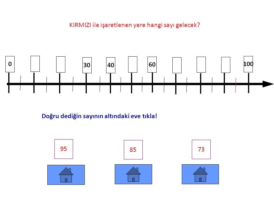 0 10 60 40 90 100 65 75 86 KIRMIZI ile işaretlenen yere hangi sayı gelecek.