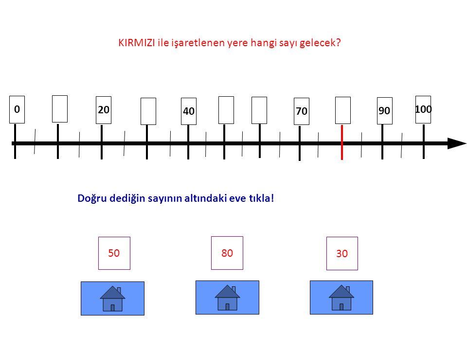0 30 60 40 100 95 85 73 KIRMIZI ile işaretlenen yere hangi sayı gelecek.
