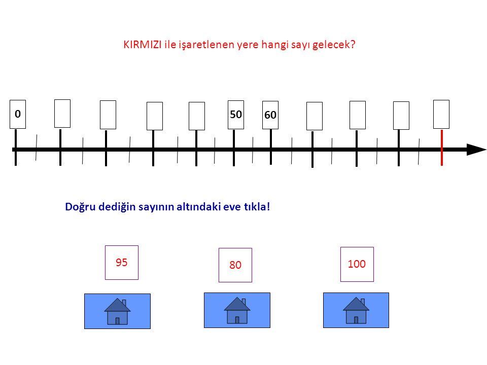 0 10 80 70 90 100 35 55 45 KIRMIZI ile işaretlenen yere hangi sayı gelecek.