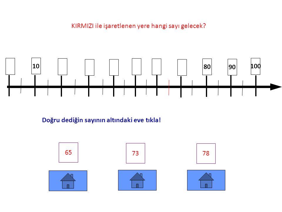 0 60 50 95 80 100 KIRMIZI ile işaretlenen yere hangi sayı gelecek.
