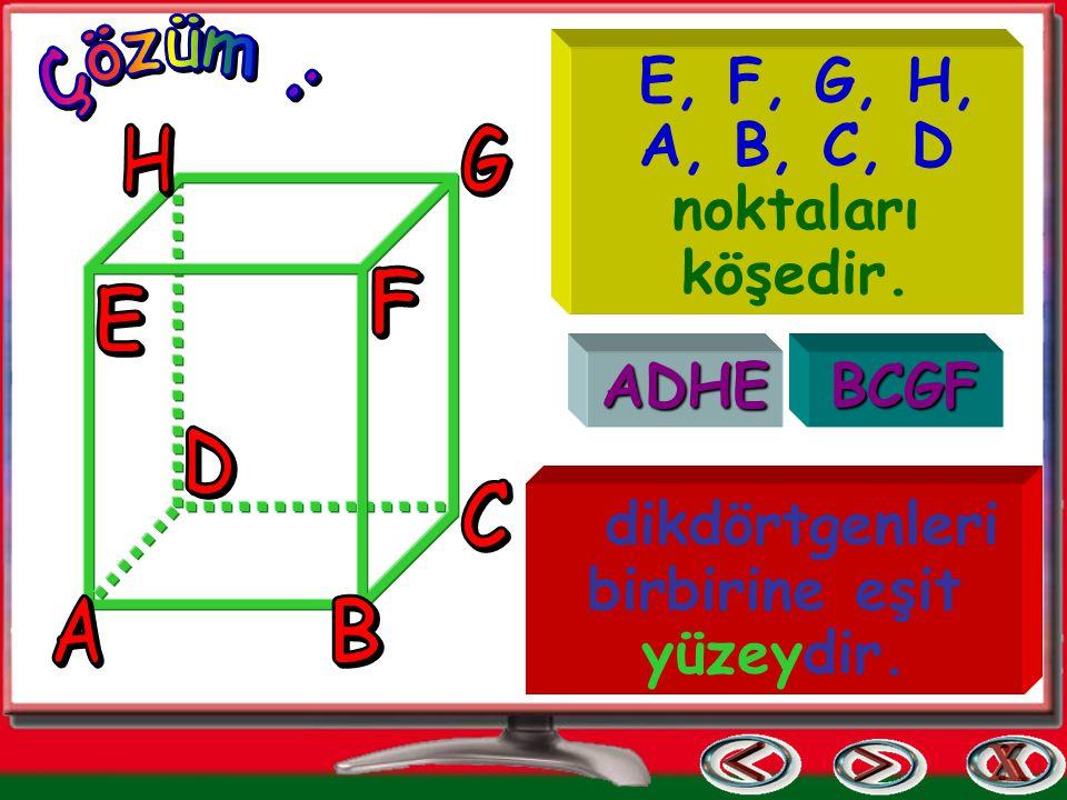 E, F, G, H, A, B, C, D noktaları köşedir. ADHEBCGF dikdörtgenleri birbirine eşit yüzeydir.