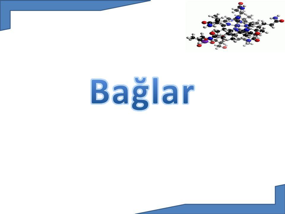 Kovalent Bağ: Atomlar arasında, son katmanlarda yer alan elektronlardan bazılarının ortaklaşa kullanılmasıyla oluşan bağa denir.