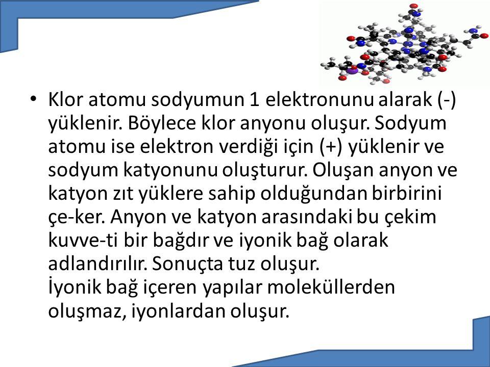 Klor atomu sodyumun 1 elektronunu alarak (-) yüklenir. Böylece klor anyonu oluşur. Sodyum atomu ise elektron verdiği için (+) yüklenir ve sodyum katyo