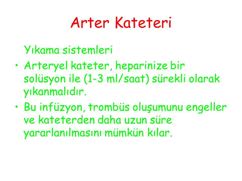 Yıkama sistemleri Arteryel kateter, heparinize bir solüsyon ile (1-3 ml/saat) sürekli olarak yıkanmalıdır.