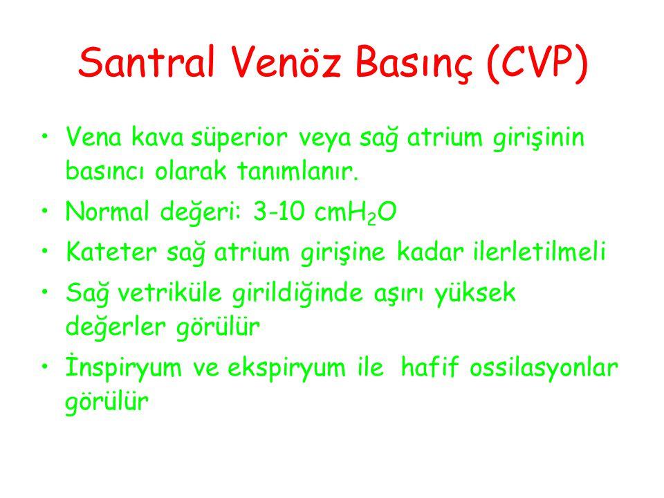 Santral Venöz Basınç (CVP) Vena kava süperior veya sağ atrium girişinin basıncı olarak tanımlanır.