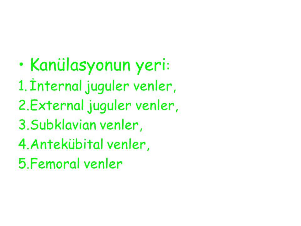 Kanülasyonun yeri : 1.İnternal juguler venler, 2.External juguler venler, 3.Subklavian venler, 4.Antekübital venler, 5.Femoral venler