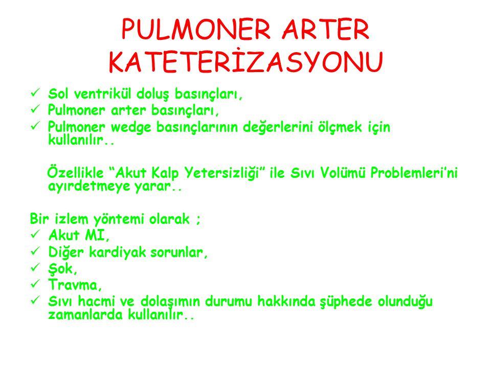 PULMONER ARTER KATETERİZASYONU Sol ventrikül doluş basınçları, Pulmoner arter basınçları, Pulmoner wedge basınçlarının değerlerini ölçmek için kullanılır..