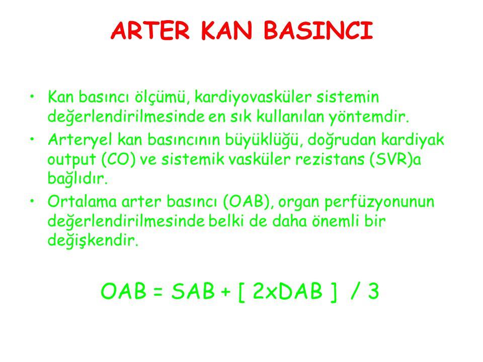ARTER KAN BASINCI Kan basıncı ölçümü, kardiyovasküler sistemin değerlendirilmesinde en sık kullanılan yöntemdir.