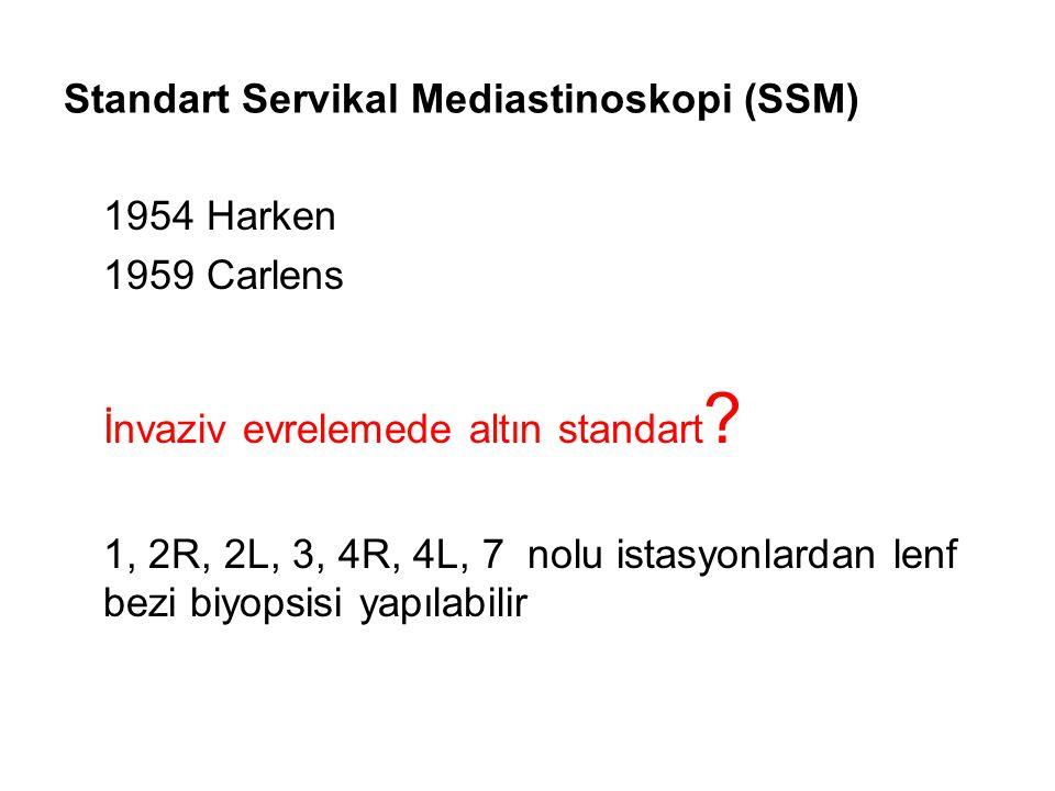 Standart Servikal Mediastinoskopi (SSM) 1954 Harken 1959 Carlens İnvaziv evrelemede altın standart ? 1, 2R, 2L, 3, 4R, 4L, 7 nolu istasyonlardan lenf
