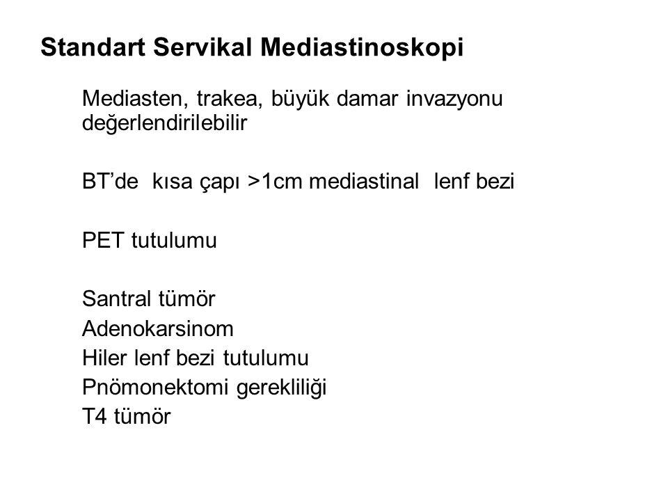 Standart Servikal Mediastinoskopi Mediasten, trakea, büyük damar invazyonu değerlendirilebilir BT'de kısa çapı >1cm mediastinal lenf bezi PET tutulumu
