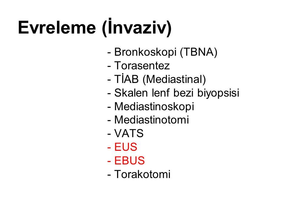 Evreleme (İnvaziv) - Bronkoskopi (TBNA) - Torasentez - TİAB (Mediastinal) - Skalen lenf bezi biyopsisi - Mediastinoskopi - Mediastinotomi - VATS - EUS