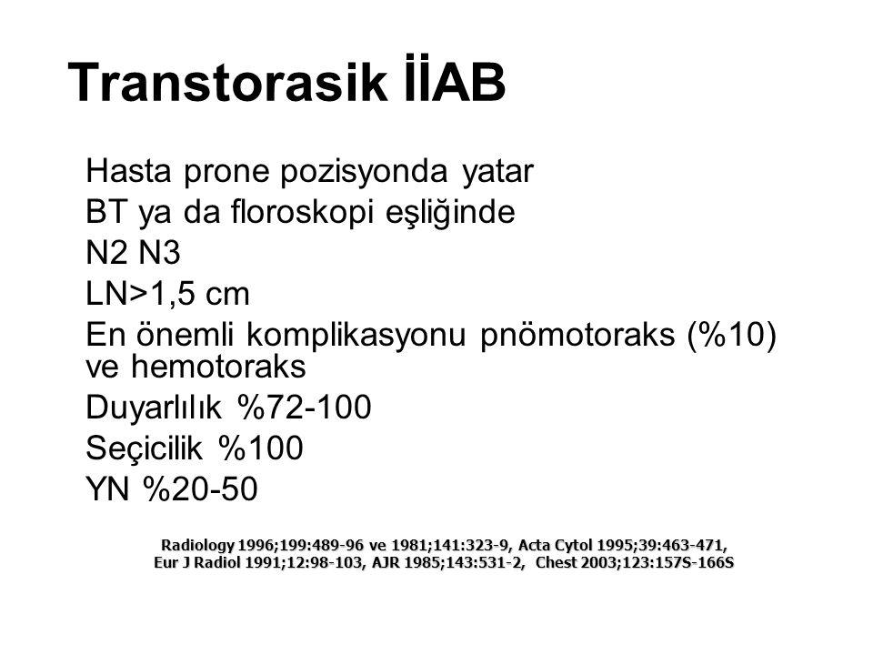 Transtorasik İİAB Hasta prone pozisyonda yatar BT ya da floroskopi eşliğinde N2 N3 LN>1,5 cm En önemli komplikasyonu pnömotoraks (%10) ve hemotoraks D