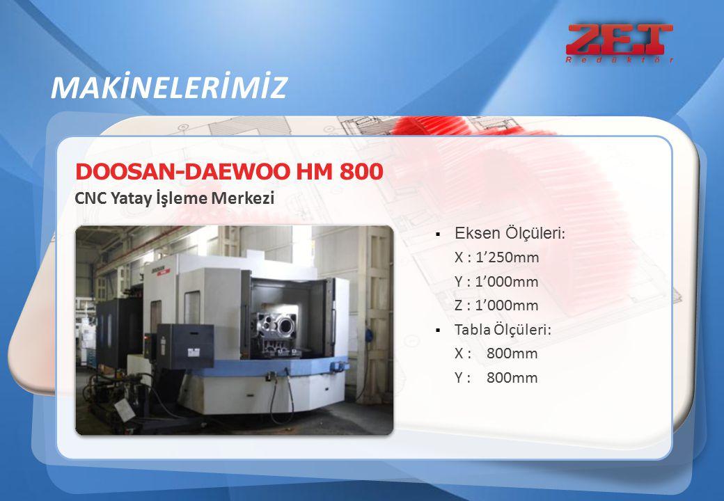 DOOSAN-DAEWOO HM 800 CNC Yatay İşleme Merkezi  Eksen Ölçüleri : X : 1'250mm Y : 1'000mm Z : 1'000mm  Tabla Ölçüleri: X : 800mm Y : 800mm MAKİNELERİM