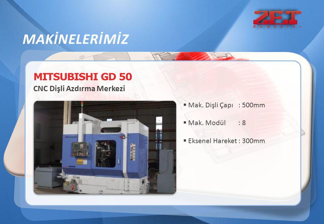 MITSUBISHI GD 50 CNC Dişli Azdırma Merkezi MAKİNELERİMİZ  Mak. Dişli Çapı : 500mm  Mak. Modül : 8  Eksenel Hareket : 300mm