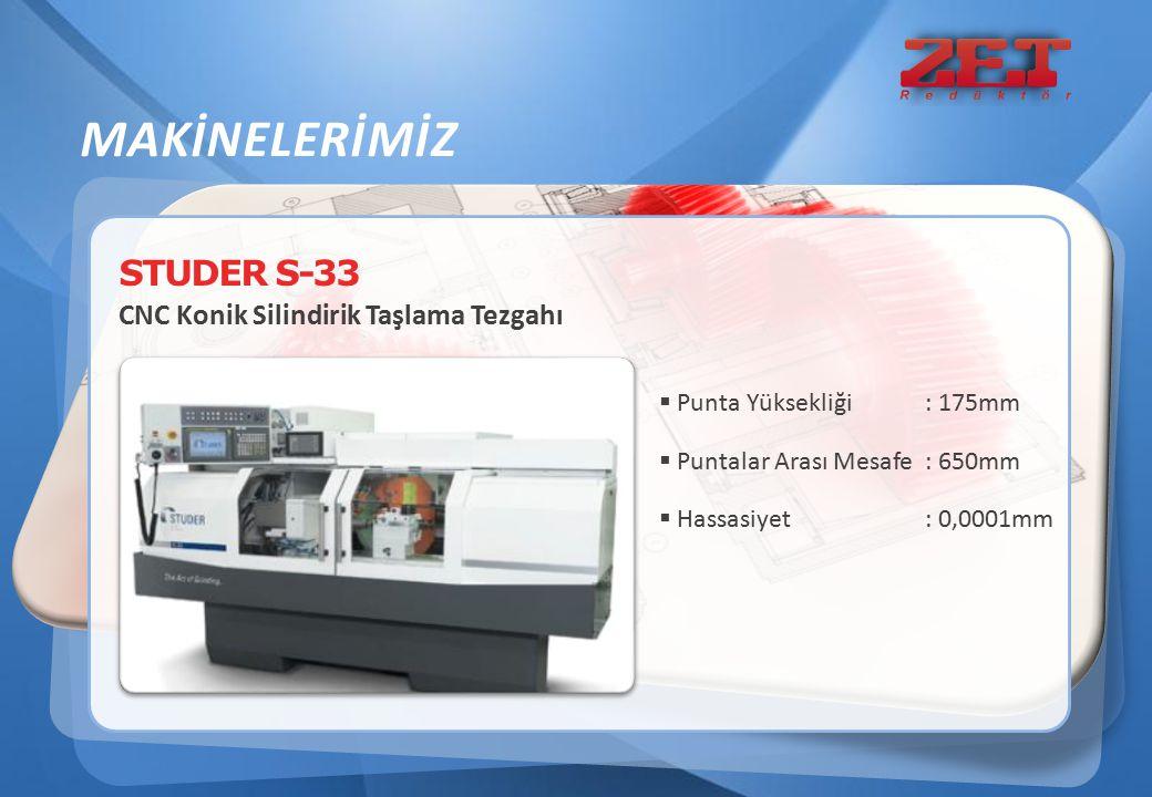 STUDER S-33 CNC Konik Silindirik Taşlama Tezgahı MAKİNELERİMİZ  Punta Yüksekliği: 175mm  Puntalar Arası Mesafe: 650mm  Hassasiyet: 0,0001mm