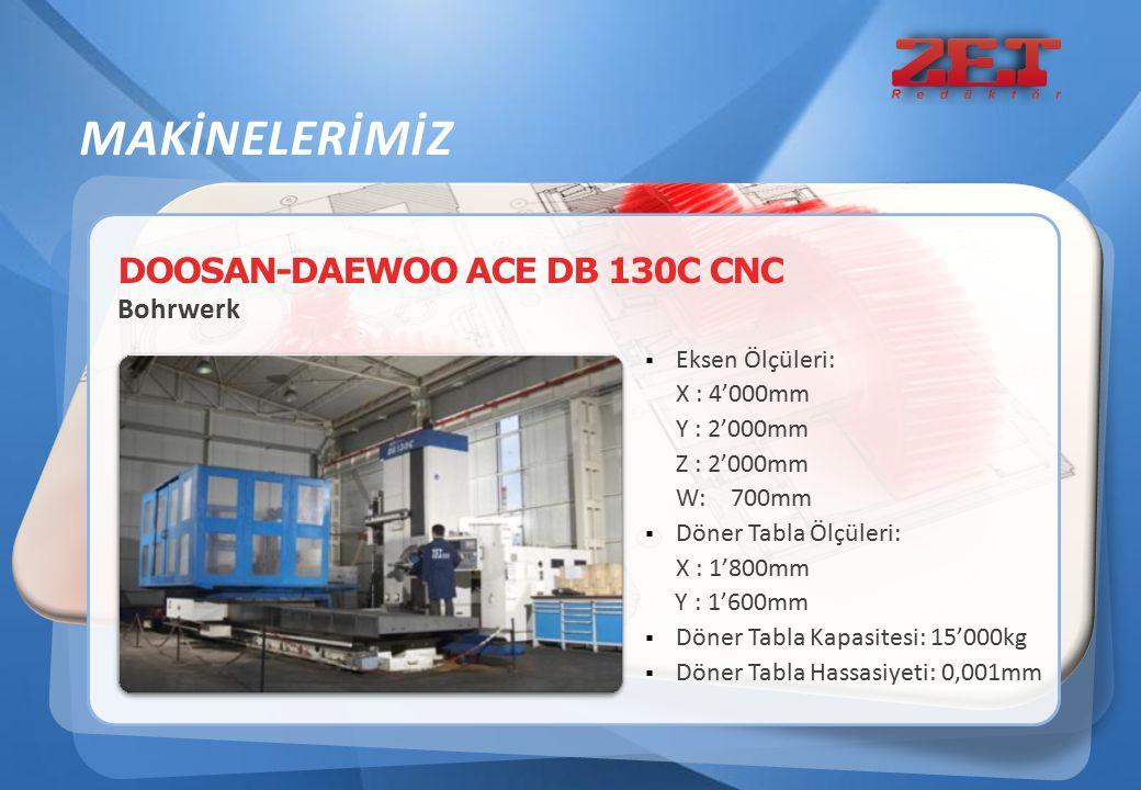 DOOSAN-DAEWOO ACE DB 130C CNC Bohrwerk  Eksen Ölçüleri: X : 4'000mm Y : 2'000mm Z : 2'000mm W: 700mm  Döner Tabla Ölçüleri: X : 1'800mm Y : 1'600mm