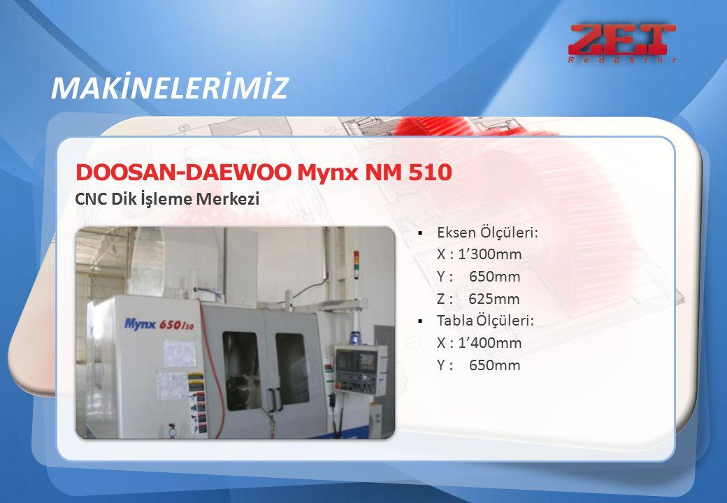 DOOSAN-DAEWOO Mynx NM 510 CNC Dik İşleme Merkezi  Eksen Ölçüleri: X : 1'300mm Y : 650mm Z : 625mm  Tabla Ölçüleri: X : 1'400mm Y : 650mm MAKİNELERİM