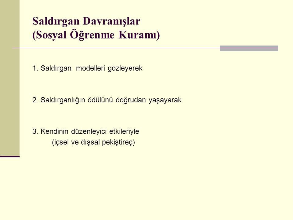 Saldırgan Davranışlar (Sosyal Öğrenme Kuramı) 1.Saldırgan modelleri gözleyerek 2.