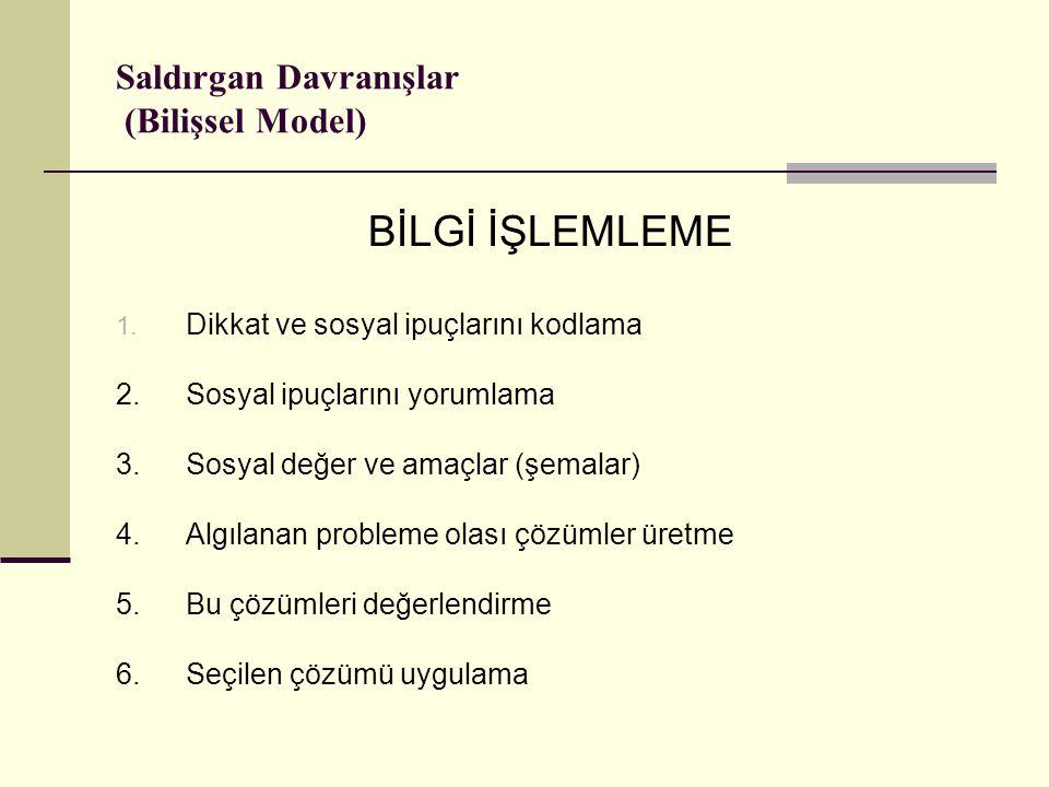 Saldırgan Davranışlar (Bilişsel Model) BİLGİ İŞLEMLEME 1.