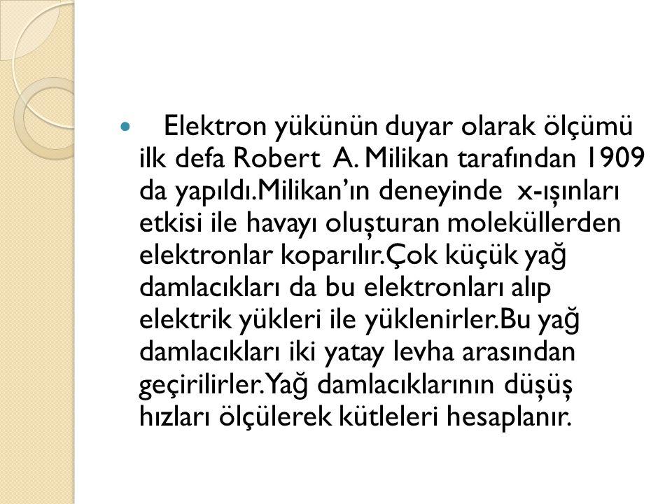 Elektron yükünün duyar olarak ölçümü ilk defa Robert A.