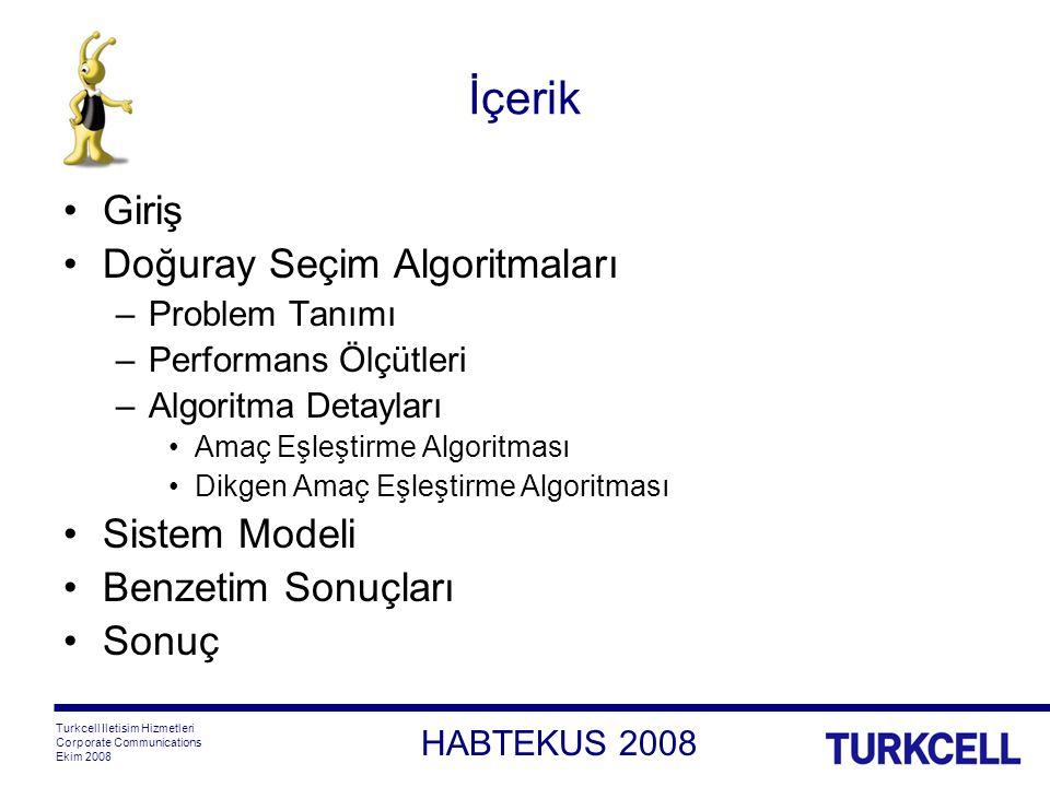 HABTEKUS 2008 Turkcell Iletisim Hizmetleri Corporate Communications Ekim 2008 İçerik Giriş Doğuray Seçim Algoritmaları –Problem Tanımı –Performans Ölçütleri –Algoritma Detayları Amaç Eşleştirme Algoritması Dikgen Amaç Eşleştirme Algoritması Sistem Modeli Benzetim Sonuçları Sonuç