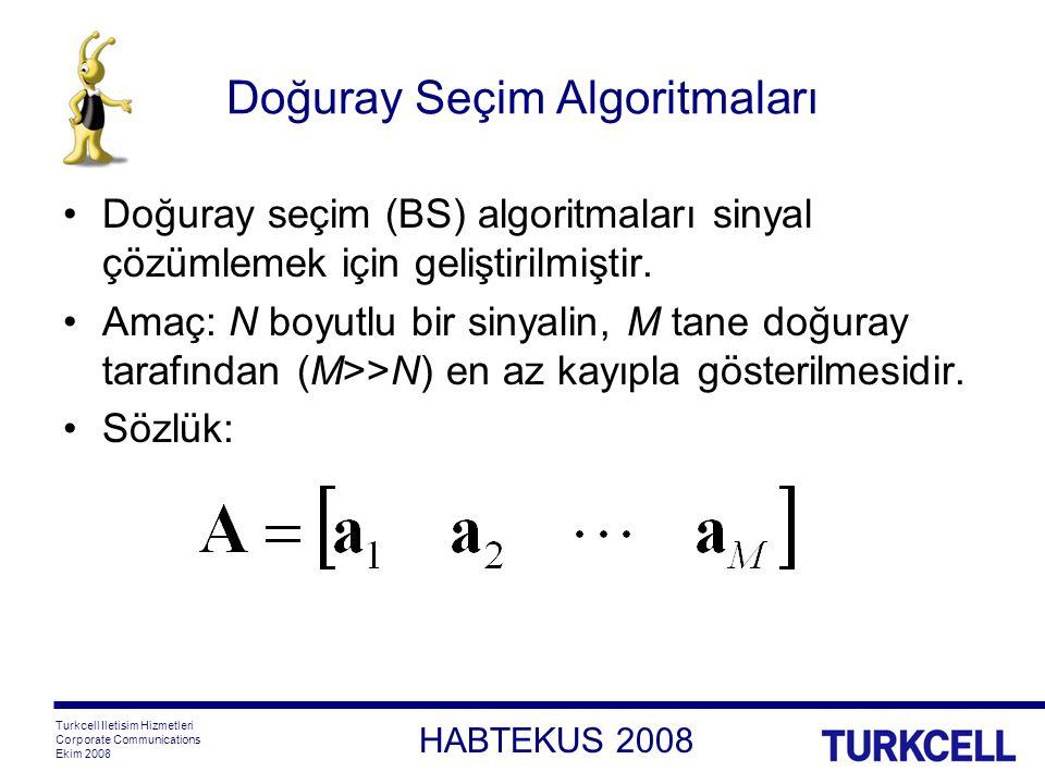 HABTEKUS 2008 Turkcell Iletisim Hizmetleri Corporate Communications Ekim 2008 Doğuray Seçim Algoritmaları Doğuray seçim (BS) algoritmaları sinyal çözümlemek için geliştirilmiştir.