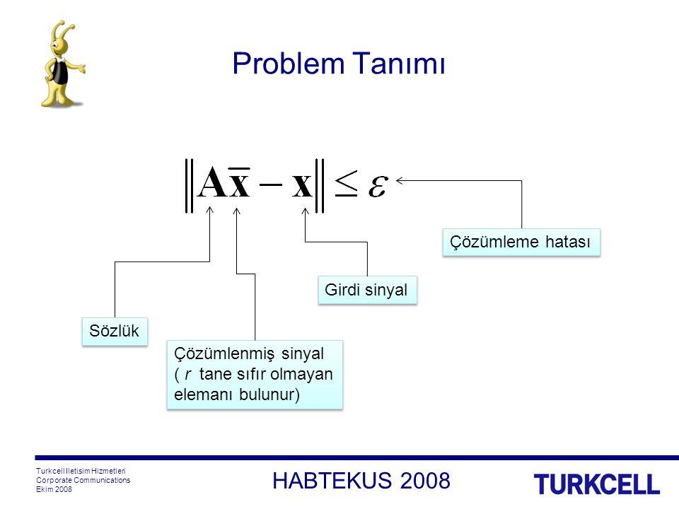 HABTEKUS 2008 Turkcell Iletisim Hizmetleri Corporate Communications Ekim 2008 Problem Tanımı Girdi sinyal Sözlük Çözümlenmiş sinyal ( r tane sıfır olmayan elemanı bulunur) Çözümleme hatası
