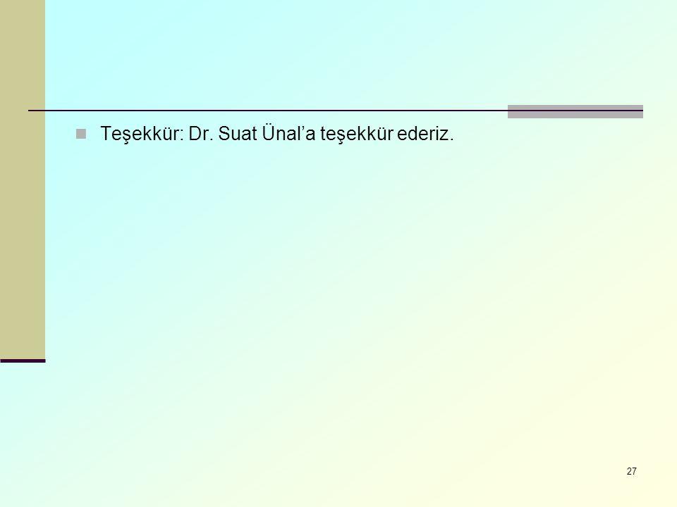 Teşekkür: Dr. Suat Ünal'a teşekkür ederiz. 27