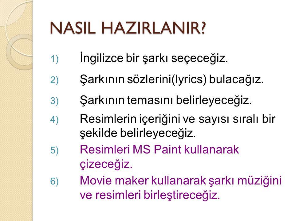 NASIL HAZIRLANIR. 1) İngilizce bir şarkı seçeceğiz.