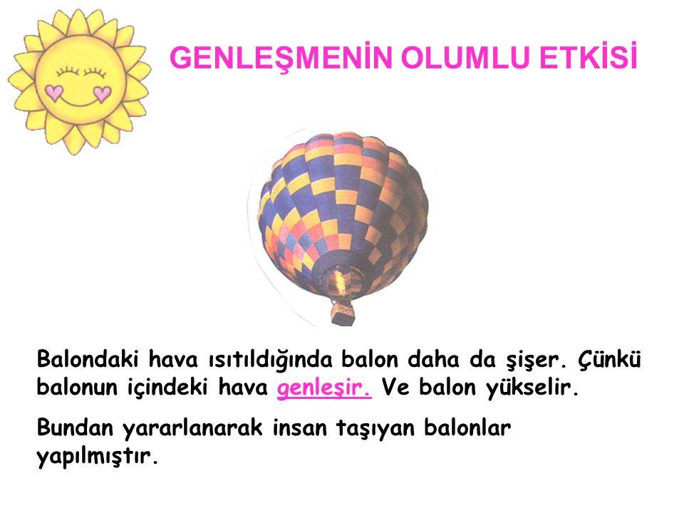 GENLEŞMENİN OLUMLU ETKİSİ Balondaki hava ısıtıldığında balon daha da şişer.