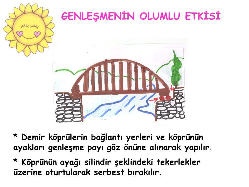 * Demir köprülerin bağlantı yerleri ve köprünün ayakları genleşme payı göz önüne alınarak yapılır.