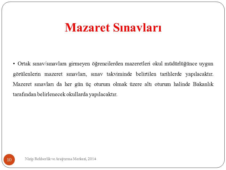 Mazaret Sınavları Nizip Rehberlik ve Ara ş tırma Merkezi, 2014 Ortak sınav/sınavlara girmeyen öğrencilerden mazeretleri okul müdürlüğünce uygun görülenlerin mazeret sınavları, sınav takviminde belirtilen tarihlerde yapılacaktır.