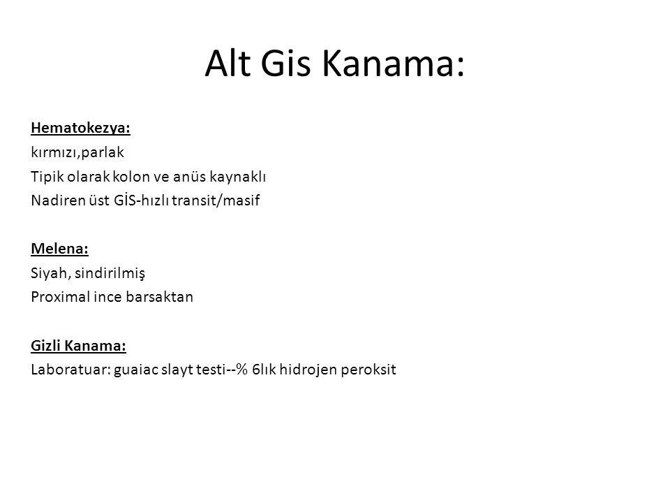 Alt Gis Kanama: Hematokezya: kırmızı,parlak Tipik olarak kolon ve anüs kaynaklı Nadiren üst GİS-hızlı transit/masif Melena: Siyah, sindirilmiş Proxima