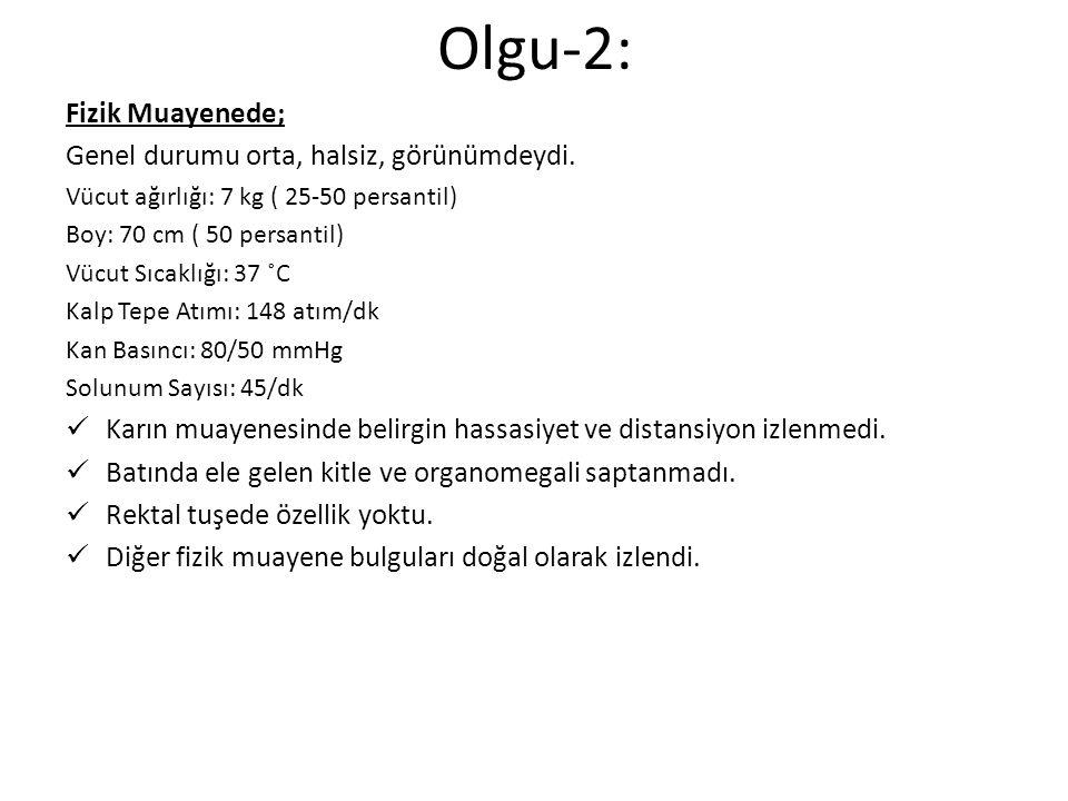 Hemogram: Hb: 5,5 g/dL HTC: 17,3 % MCV: 86 fL, WBC: 30,5x10 3 /μL NEU: 6,5x10 3 /μL PLT: 542x 10 3 /μL CRP: <0,02 mg/dL Sed: 2 mm/saat Rutin biyokimya tetkikleri normaldi.