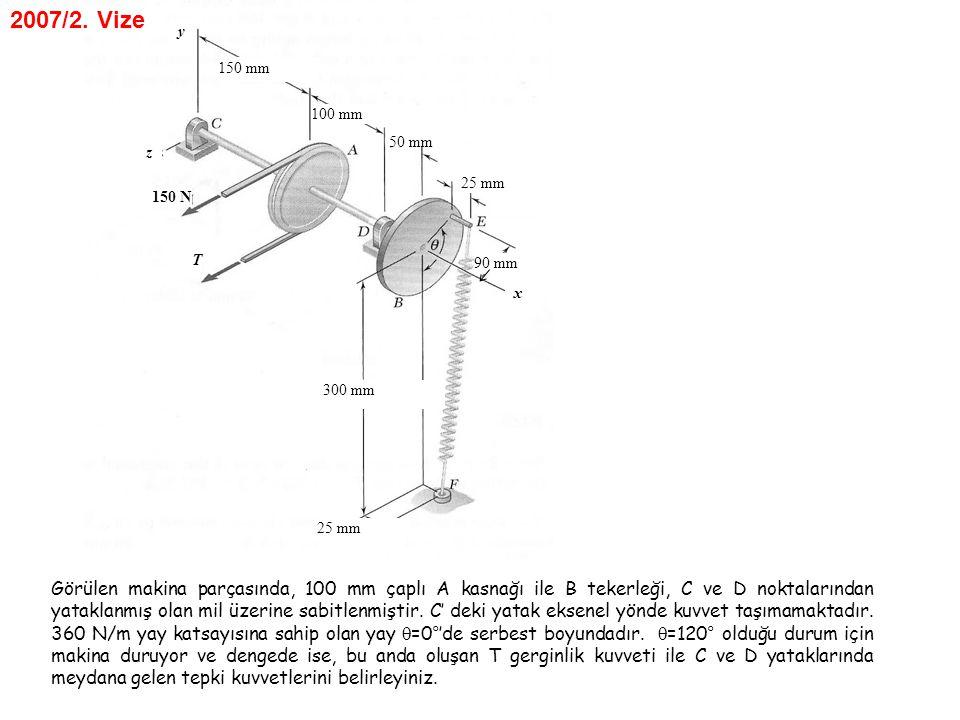 150 mm 100 mm 50 mm 25 mm 90 mm 300 mm 25 mm 150 N x z y T Görülen makina parçasında, 100 mm çaplı A kasnağı ile B tekerleği, C ve D noktalarından yat