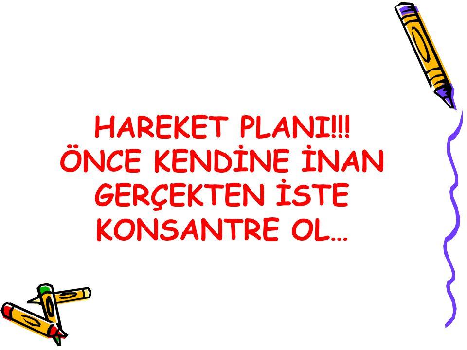 HAREKET PLANI!!! ÖNCE KENDİNE İNAN GERÇEKTEN İSTE KONSANTRE OL…