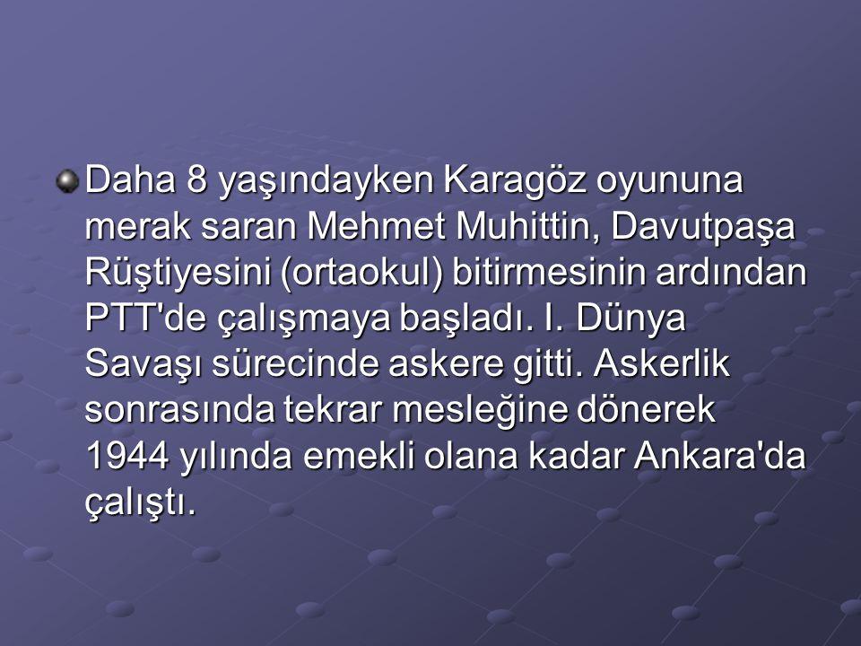 Daha 8 yaşındayken Karagöz oyununa merak saran Mehmet Muhittin, Davutpaşa Rüştiyesini (ortaokul) bitirmesinin ardından PTT'de çalışmaya başladı. I. Dü