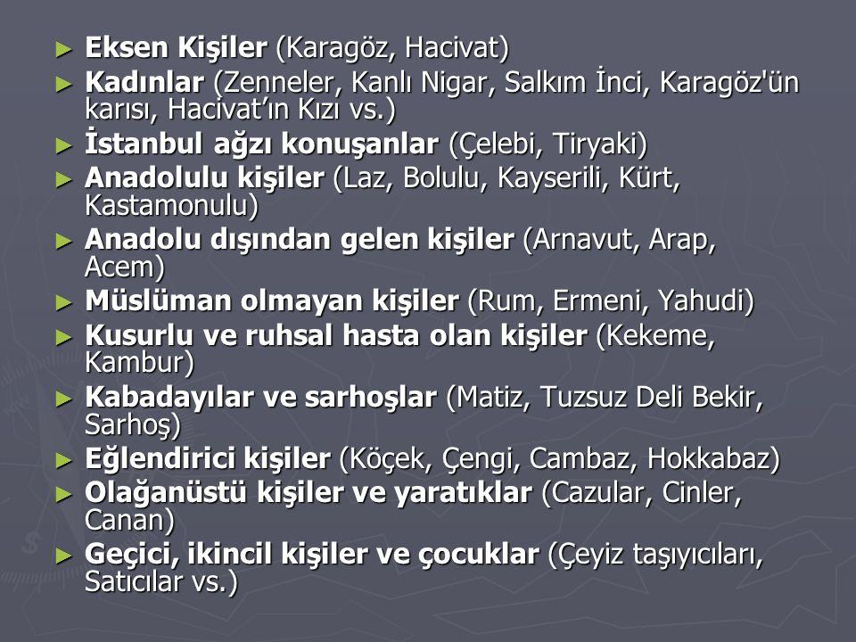 ► Eksen Kişiler (Karagöz, Hacivat) ► Kadınlar (Zenneler, Kanlı Nigar, Salkım İnci, Karagöz'ün karısı, Hacivat'ın Kızı vs.) ► İstanbul ağzı konuşanlar