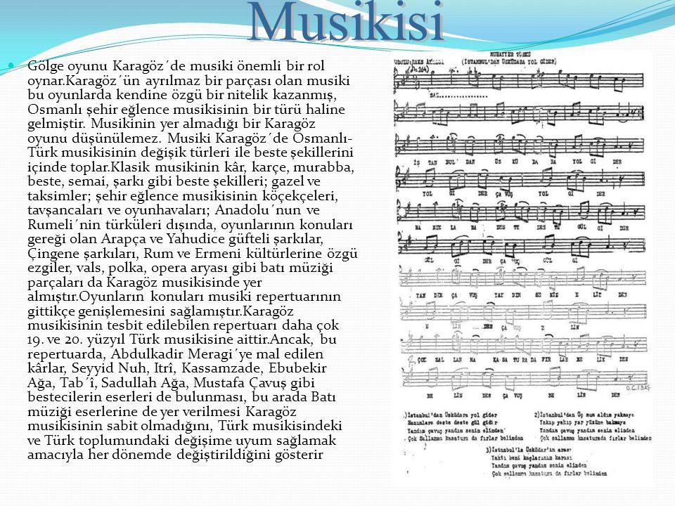 Gölge oyunu Karagöz´de musiki önemli bir rol oynar.Karagöz´ün ayrılmaz bir parçası olan musiki bu oyunlarda kendine özgü bir nitelik kazanmış, Osmanlı
